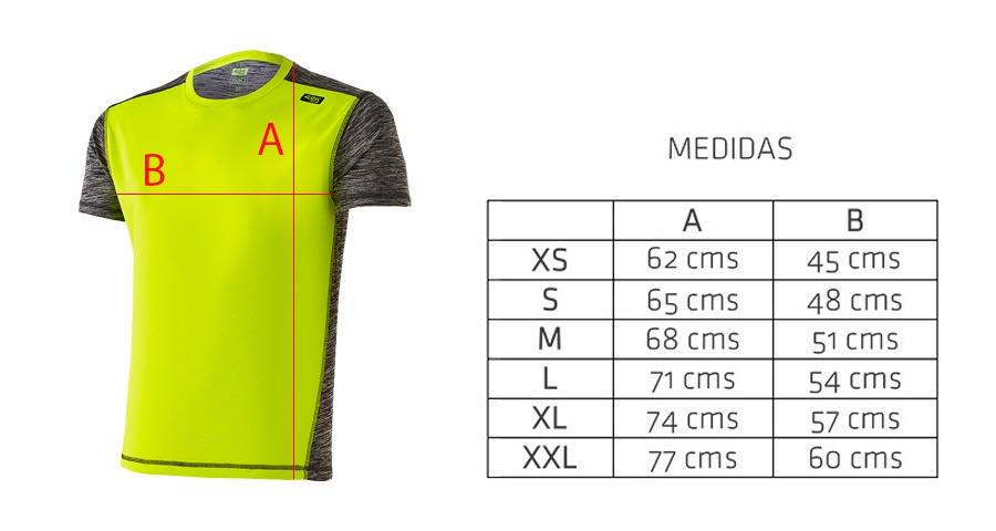 Medidas camiseta técnica amarilla