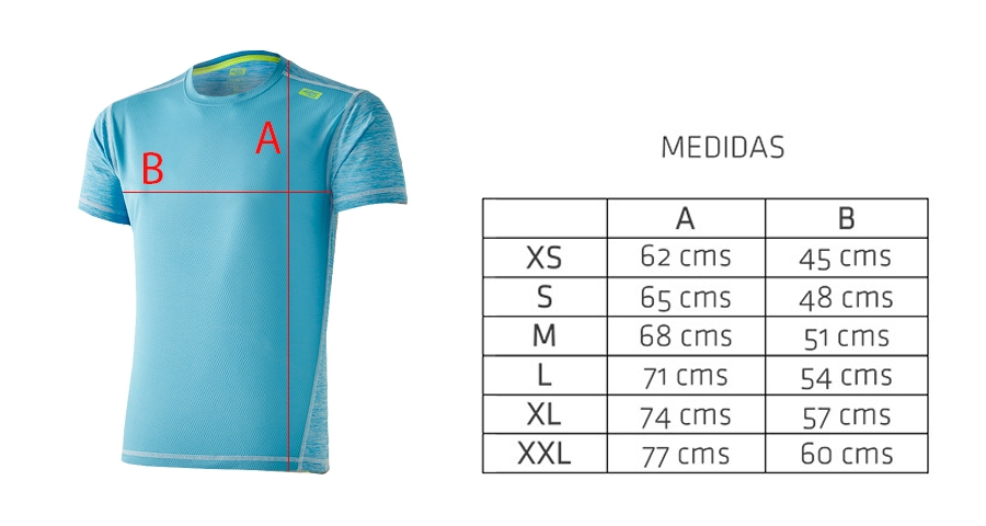 Medidas camiseta técnica deportiva azul