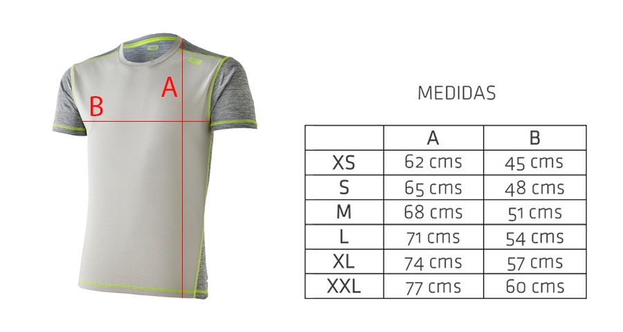 Medidas camiseta técnica deportiva gris