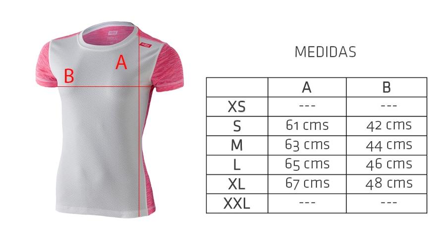 Medidas camiseta técnica deportiva rosa