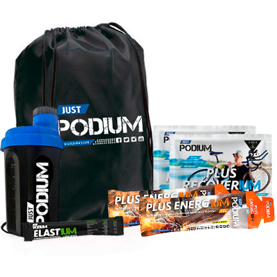 PACK AHORRO PODIUM-BLACK, 2 Plus Recoverium + 2 Plus Energium + Gymsack + Shaker Negro 300ml