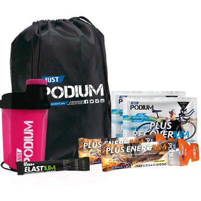 PACK AHORRO PODIUM-PINK, 2 Plus Recoverium + 2 Plus Energium + Gymsack + Shaker Rosa 300ml