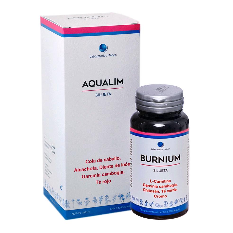 PACK DIETA + CINTA MÉTRICA, Aqualim: 500 ml. Burnium: 60 cápsulas