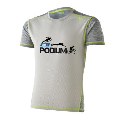 Detalle frente camiseta técnica deportiva gris