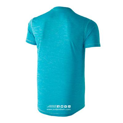 Parte trasera camiseta técnica deportiva azul