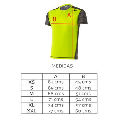 Tallas camiseta técnica deportiva amarilla